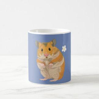 Caneca De Café Hamster pequeno bonito que guardara uma flor