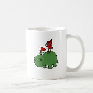 Caneca De Café Hipopótamo verde engraçado do Natal
