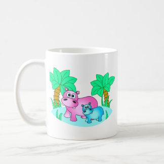 Caneca De Café Hipopótamos bonitos mamã e natação do bebê