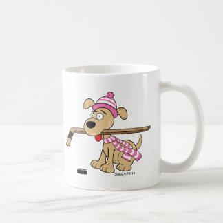 Caneca De Café Hóquei cor-de-rosa das meninas do cão do hóquei