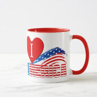 """Caneca de café - I (coração) """"AMÉRICA"""" em listras"""