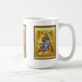 Caneca De Café Ícone do cristo com um livro do evangelho,