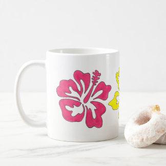 Caneca De Café Ilha floral da flor tropical havaiana do hibiscus