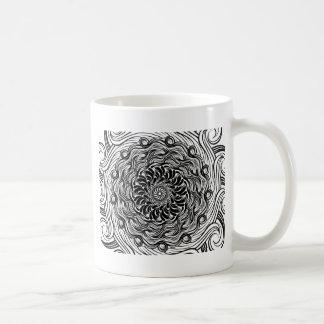 Caneca De Café Ilusão óptica do Doodle ornamentado do zen preto e