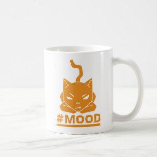 Caneca De Café Ilustração alaranjada do logotipo do gato do #MOOD