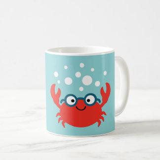 Caneca De Café Ilustração bonito do caranguejo de Specky