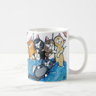 Caneca De Café Ilustração bonito do Sleepover do gatinho