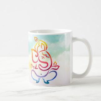 Caneca De Café Ilustração de cor da aguarela Ganesha e do Rangoli