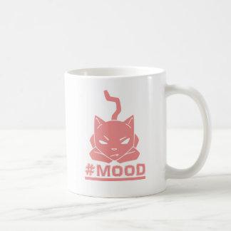 Caneca De Café Ilustração do logotipo do rosa do gato do #MOOD