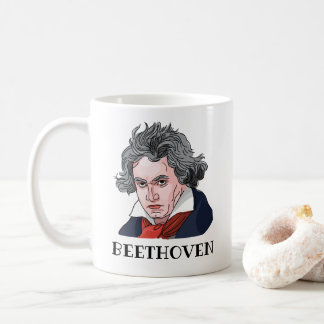 Caneca De Café Ilustração do retrato de Beethoven