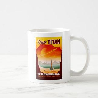 Caneca De Café Ilustração do viagem do titã da lua de Saturn da