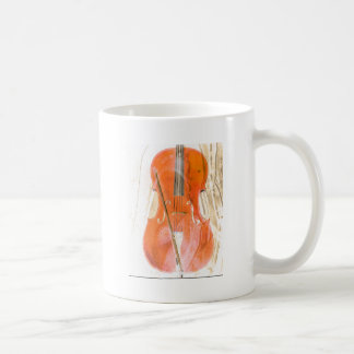 Caneca De Café Ilustração do violoncelo em tons marrons neutros