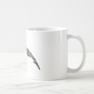 Caneca De Café Ilustração gráfica tribal da baleia Minke
