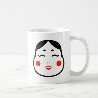 Caneca De Café ilustração japonesa da cara do okame dos desenhos