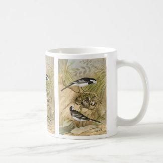 Caneca De Café Ilustração Pied do pássaro do vintage do Wagtail