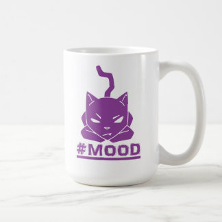 Caneca De Café Ilustração roxa do logotipo do gato do #MOOD