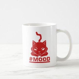 Caneca De Café Ilustração vermelha do logotipo do gato do #MOOD
