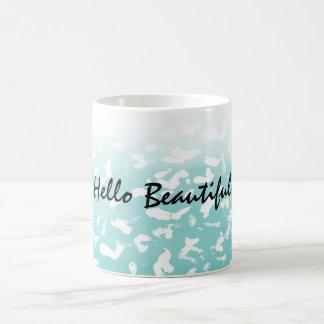 Caneca De Café Impressão animal branco de Ombre do Aqua bonito