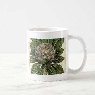 Caneca De Café Impressão botânico da couve-flor do vintage