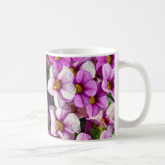 Caneca De Café Impressão floral bonito dos petúnias cor-de-rosa e
