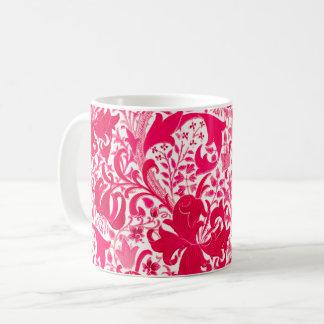 Caneca De Café Íris de William Morris e lírio, rosa do fúcsia