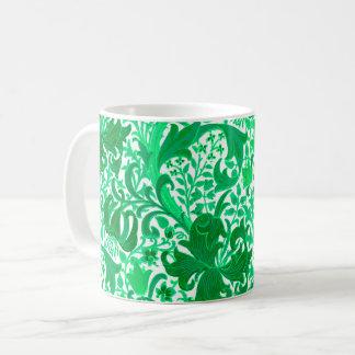 Caneca De Café Íris de William Morris e lírio, verde de jade