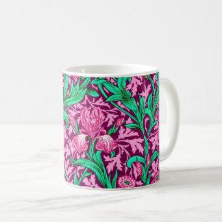 Caneca De Café Íris de William Morris, rosa fúcsia e vinho