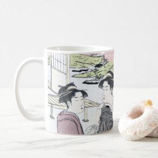 Caneca De Café Japonês Ukiyo-e Niwa nenhum hanami por Eishi