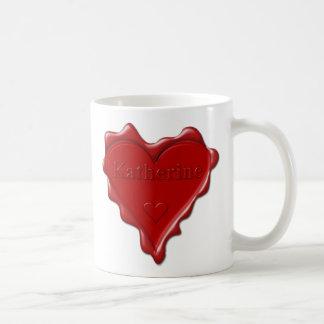 Caneca De Café Katherine. Selo vermelho da cera do coração com