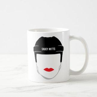 Caneca De Café Lábios da cara do capacete do hóquei das mulheres