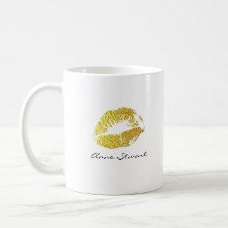 Caneca De Café lábios do ouro