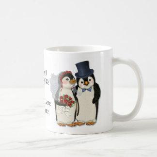 Caneca De Café Laço dos noivos do casamento do pinguim -