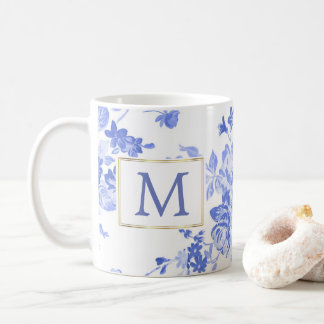 Caneca De Café lado customizável da inicial azul da porcelana da