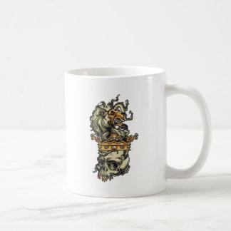 Caneca De Café leão do vintage no crânio inoperante