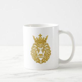 Caneca De Café leão dourado na coroa - imitação do bordado