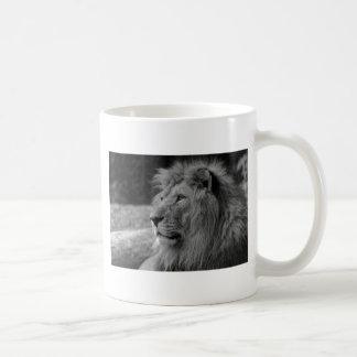 Caneca De Café Leão preto & branco - animal selvagem