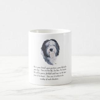 Caneca De Café Lembrança inglesa velha do Sheepdog - homem