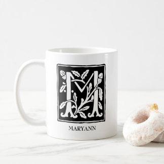 Caneca De Café Letra decorativa M do alfabeto personalizada