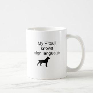 Caneca De Café Linguagem gestual de Pitbull (b)