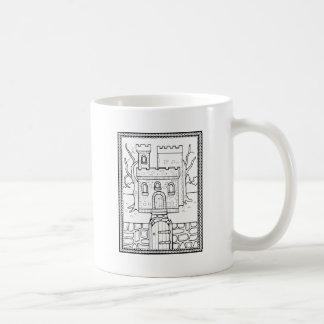 Caneca De Café Linha design do castelo do mascarada da arte