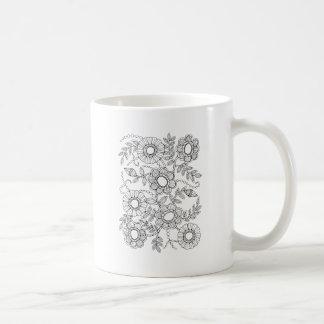 Caneca De Café Linha frisada floral design do pulverizador da