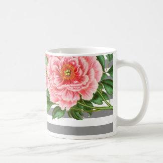 Caneca De Café Linhas cor-de-rosa do cinza das peônias