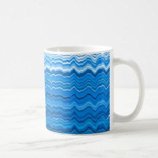 Caneca De Café Linhas onduladas azuis teste padrão
