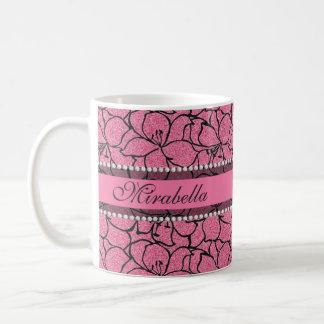 Caneca De Café Lírios cor-de-rosa luxúrias com esboço preto,