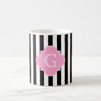 Caneca De Café Listra branca preta, monograma cor-de-rosa de