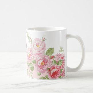 Caneca De Café Listra da peônia dos rosas do verão do primeiro de
