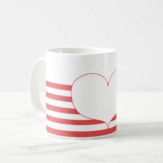 Caneca De Café Listras & coração vermelhos e brancos