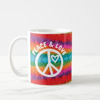 Caneca De Café Listras da tintura do laço da paz e do amor