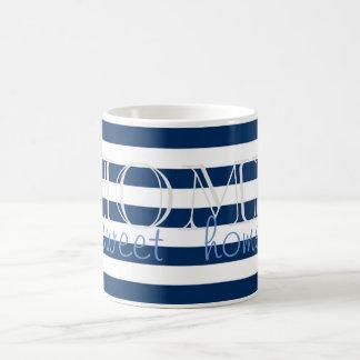 Caneca De Café Listras de azuis marinhos modernas, casa do doce