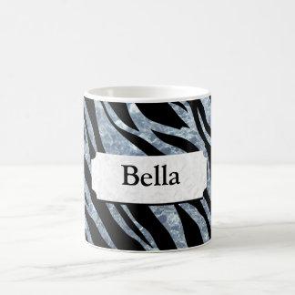 Caneca De Café Listras de prata cintilantes da zebra